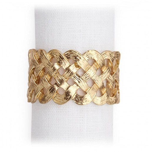L'Objet Napkin Jewels Gold Braid Plain, Set of 4