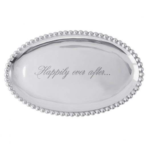 Mariposa Engraved Statements Happily Ever After Oval Platter