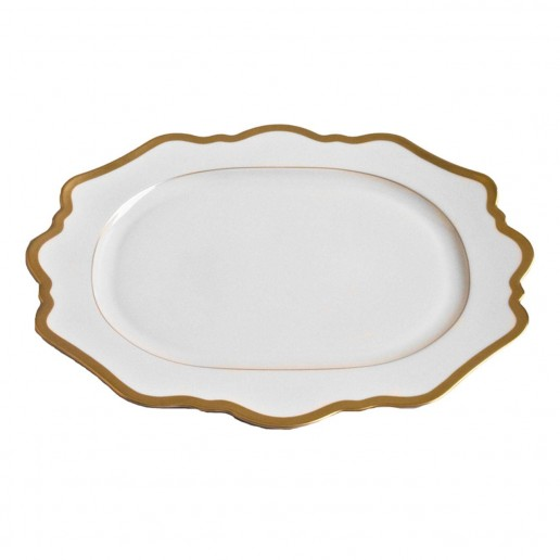Anna Weatherley Antique White with Gold Rim Oval Platter