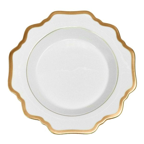 Anna Weatherley Antique White with Gold Rim Rim Soup