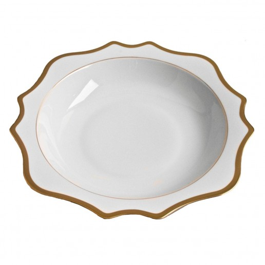 Anna Weatherley Antique White with Gold Rim Serving Bowl