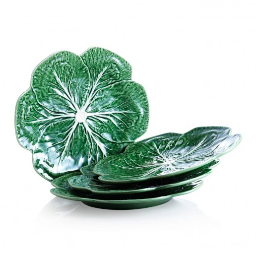 Bordallo Pinheiro Cabbage Green Dinner Plates Set of 4