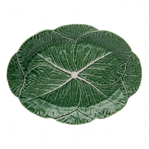 Bordallo Pinheiro Cabbage Green Oval Platter Large