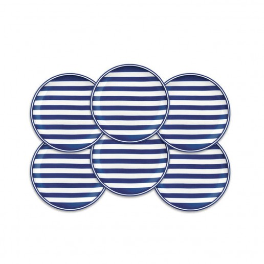 Caskata Beach Towel Stripe Canape Plates, Set of 6