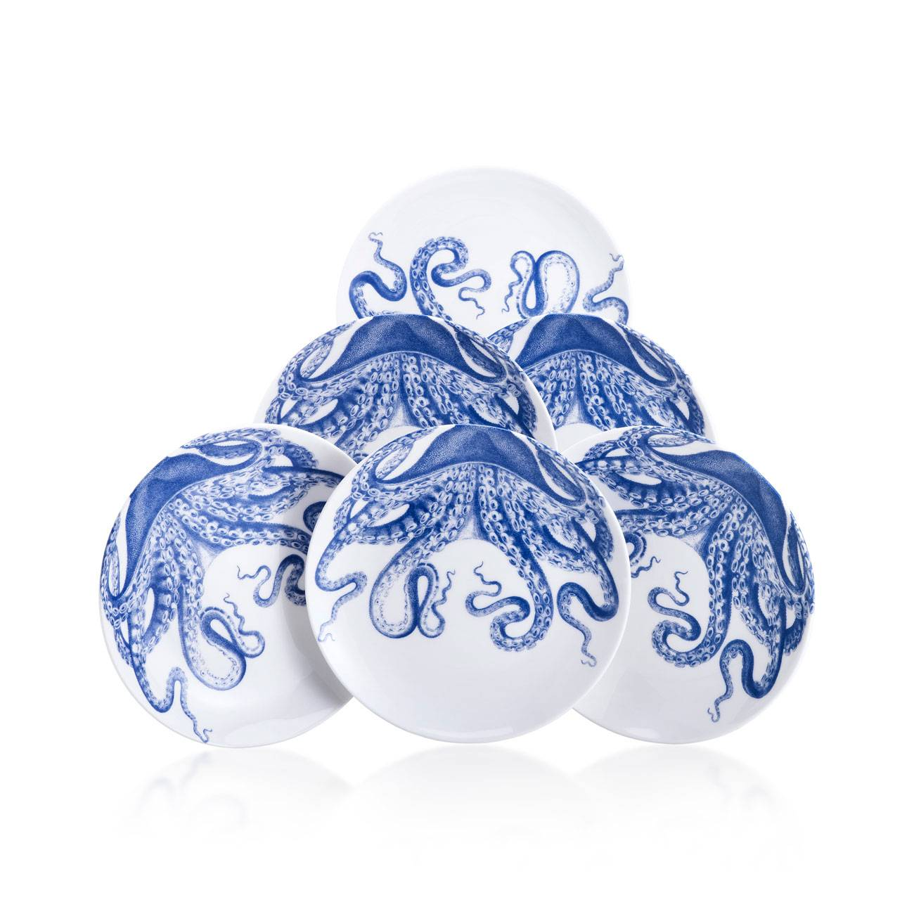 Caskata blue lucy canape plates set of 6 michael c fina for Where can i buy canape cups