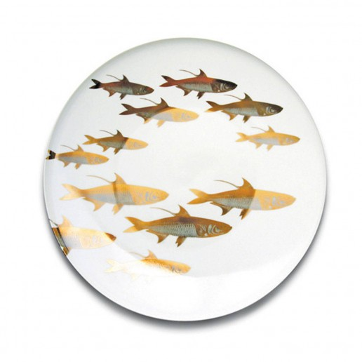 Caskata School of Fish Gold & Platinum Round Platter