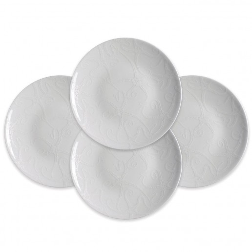 Caskata Starfish White Collection Accent Plates, Set of 4