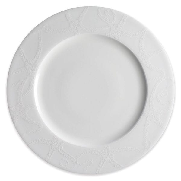 Caskata Starfish White Collection Rimmed Dinner Plate