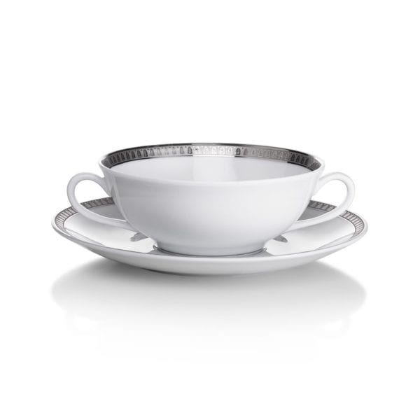 Christofle Malmaison Platinum Cream Soup Cup & Saucer