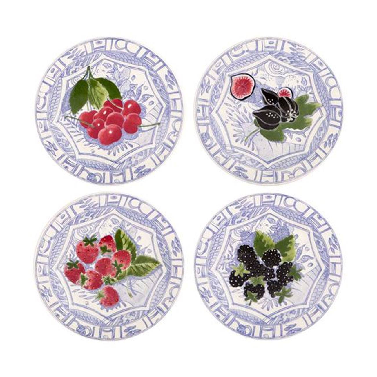 Gien oiseau blue fruits assorted canape plate set of 4 for Canape plate sets