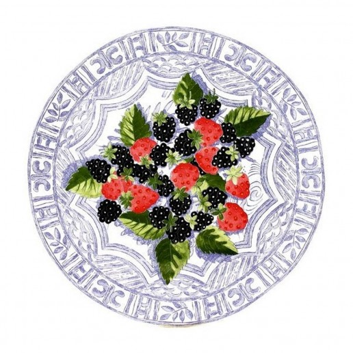 Gien Oiseau Blue Fruits Cake Platter