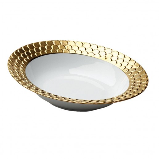 L'Objet Aegean Gold Round Serving Bowl
