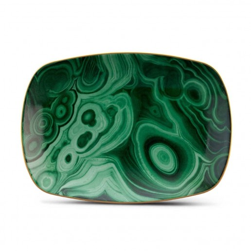 L'Objet Malachite Rectangular Small Tray