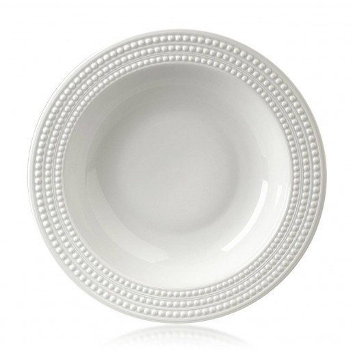 L'Objet Perlee White Round Serving Bowl