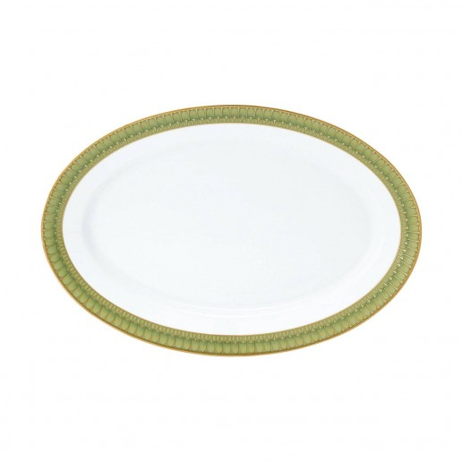 Philippe Deshoulieres Arcades Green Oval Platter