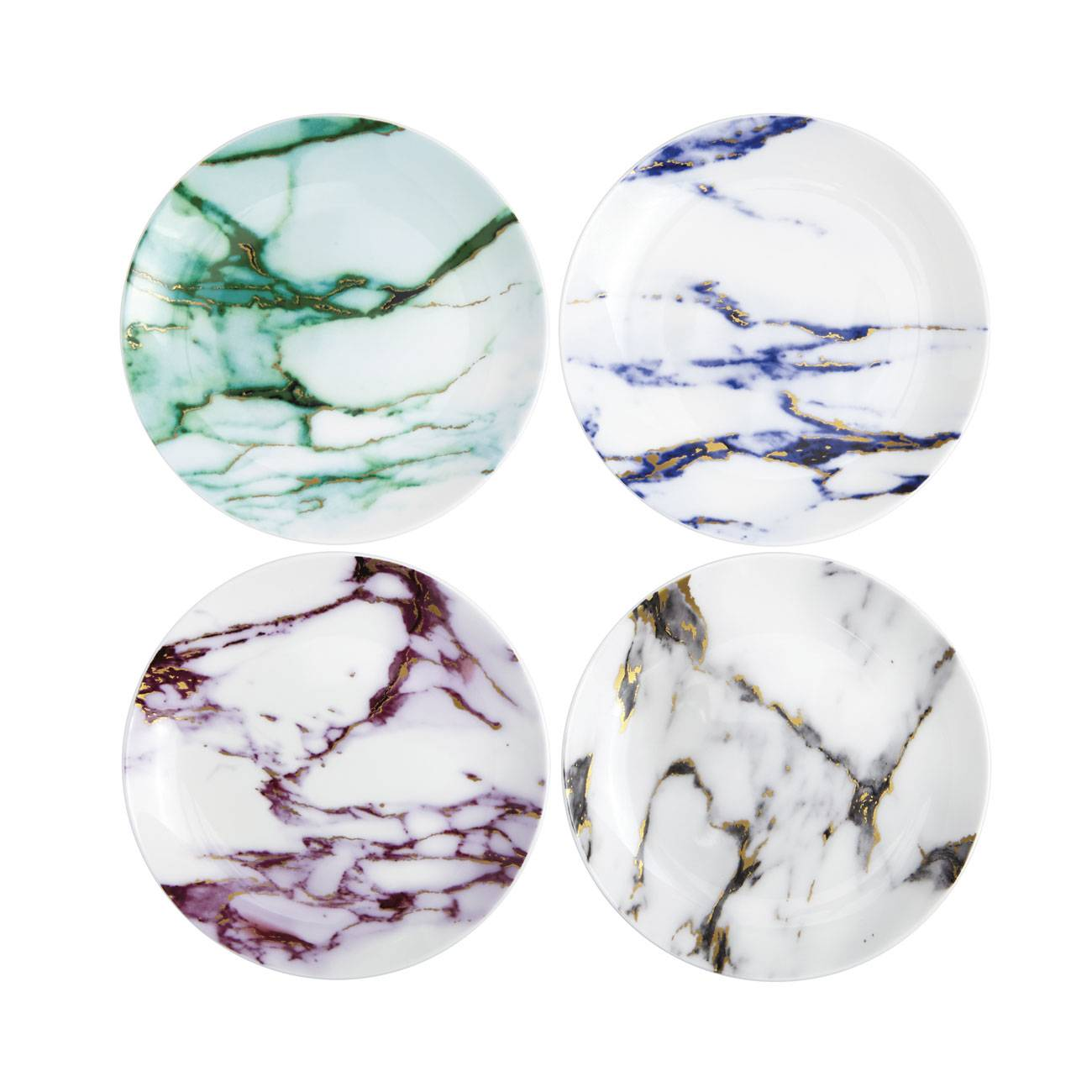 Prouna marble assorted canape plates set of 4 michael c for What are canape plates