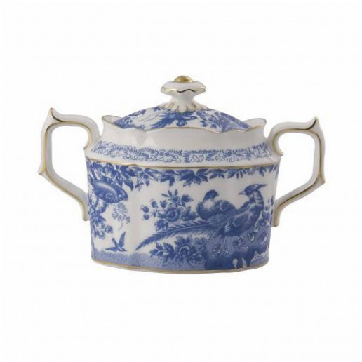 Royal Crown Derby Blue Aves Covered Sugar