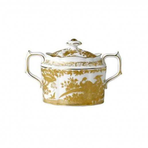 Royal Crown Derby Gold Aves Covered Sugar