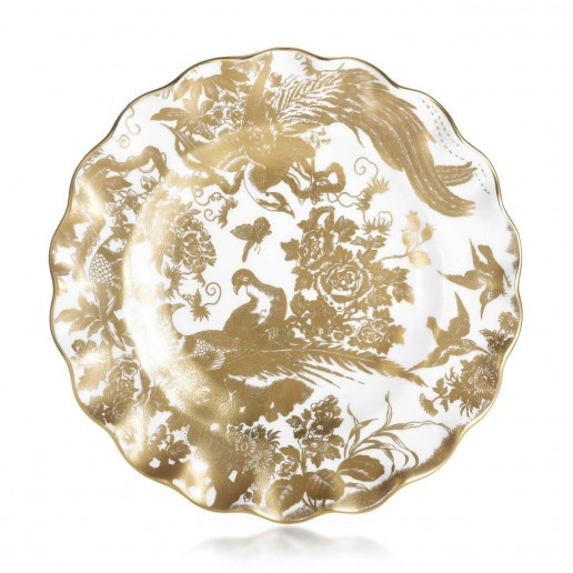 Royal Crown Derby Gold Aves Fluted Dessert Plate