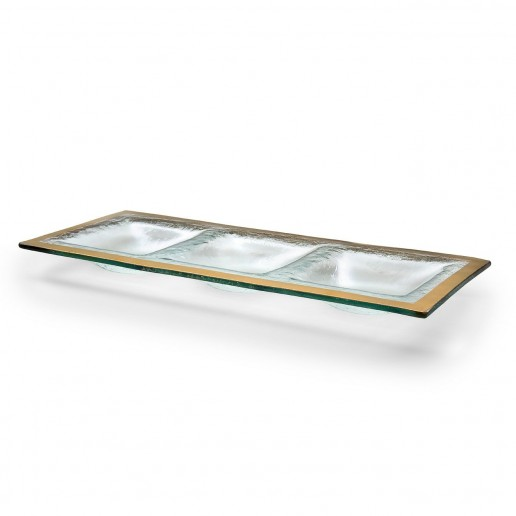 Annieglass Roman Antique Gold Three Section Tray