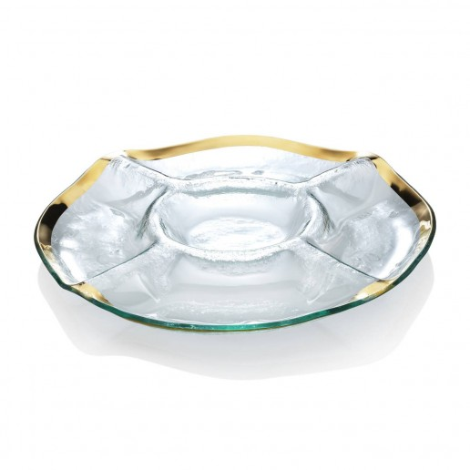 Annieglass Roman Antique Gold Five Section Chip & Dip