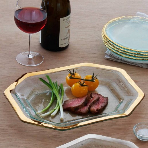 Annieglass Roman Antique Gold Steak Platter