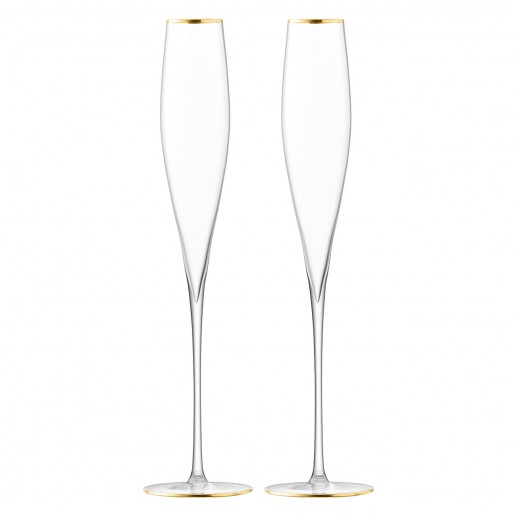 LSA International Celebrate Toasting Flute Gold, Set of 2