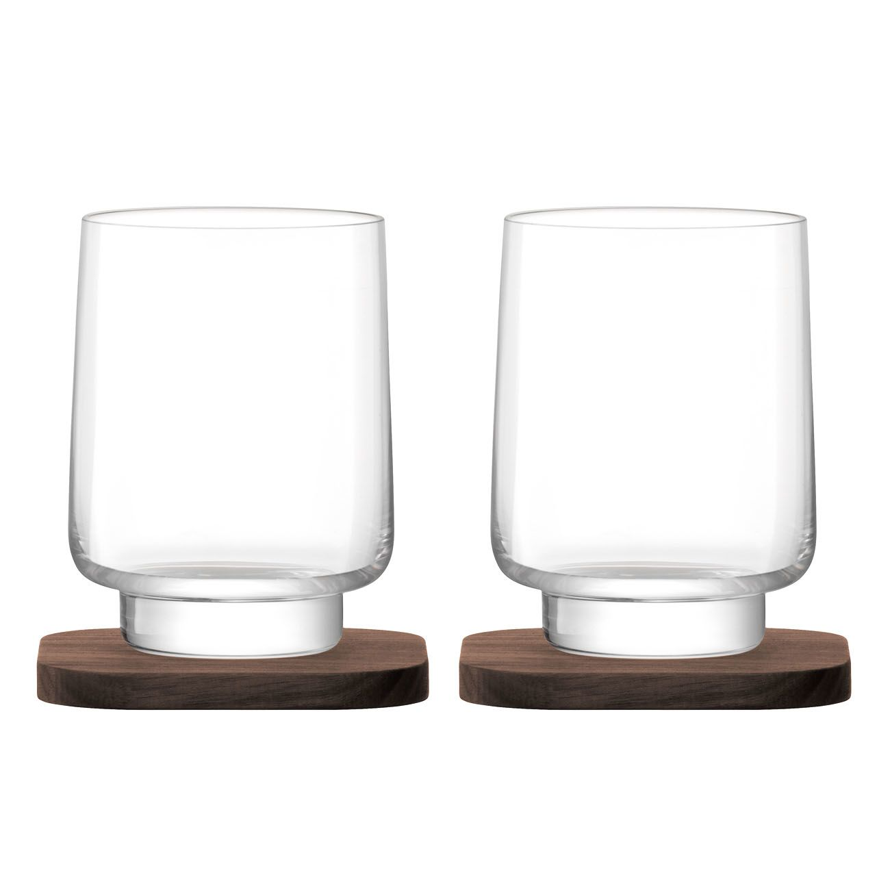LSA International City Bar Collection Tumbler & Walnut Coaster, Set of 2