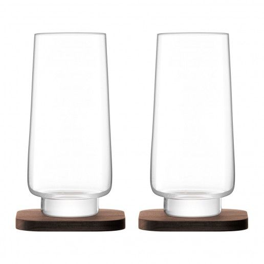 LSA International City Bar Collection Long Drink Glass & Walnut Coaster, Set of 2