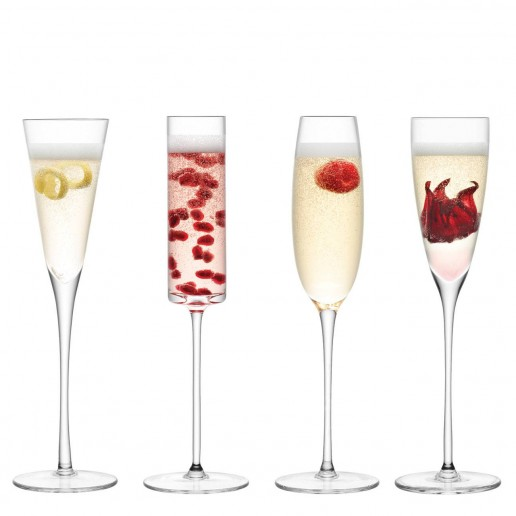 LSA International Lulu Champagne Flute Assorted, Set of 4