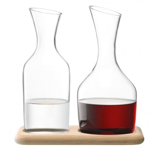 LSA International Water & Wine Carafe Set & Oak Base