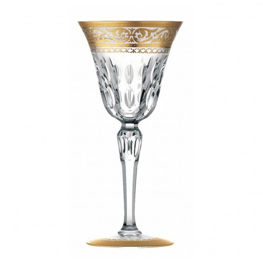 Saint-Louis Crystal Stella Gold Decorated Continental Water Goblet