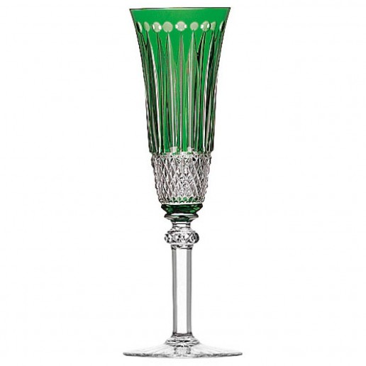 Saint-Louis Crystal Tommy Champagne Flute, Green