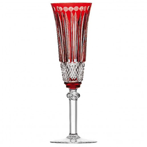 Saint-Louis Crystal Tommy Champagne Flute, Red