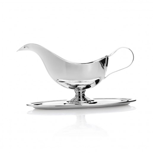 Michael C. Fina English Silver Plated Sauce Boat With Dish