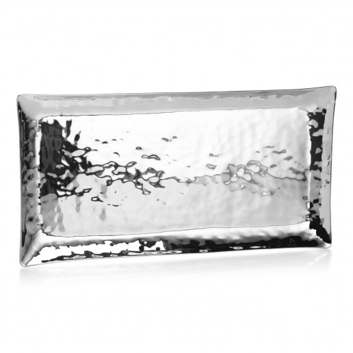 Mary Jurek Design Aurora Stainless Steel Large Rectangular Tray 14 Inch by 7.5 Inch