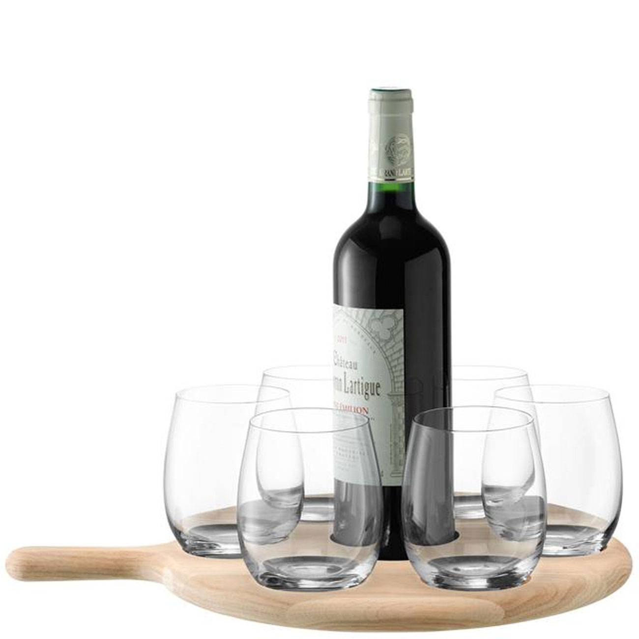 LSA International Paddle Water & Wine Serving Set & Oak Paddle