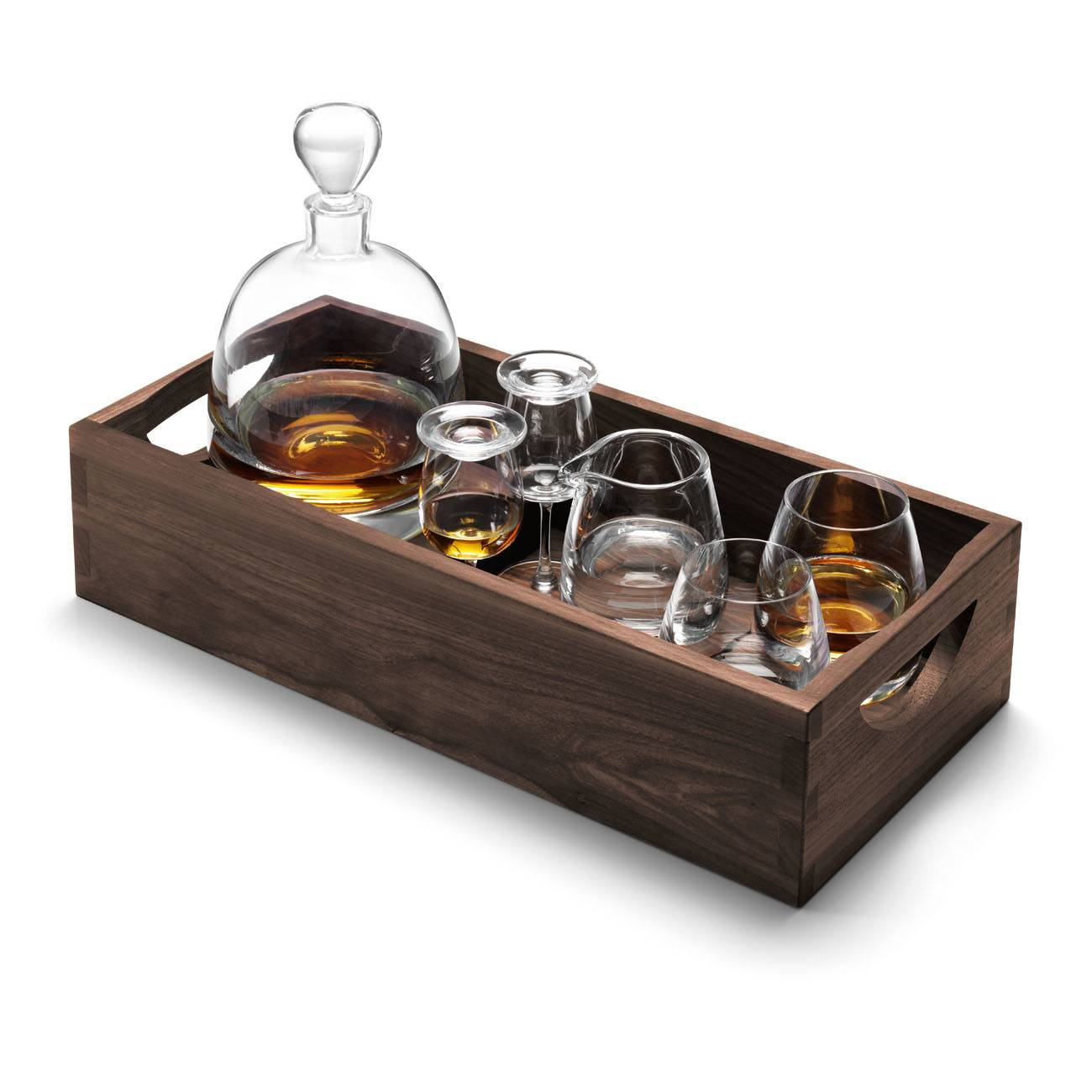 LSA International Whiskey Islay Connoisseur Set & Walnut Tray