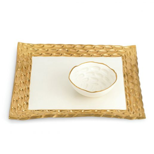 Michael Wainwright Truro Gold Square Tray with Bowl