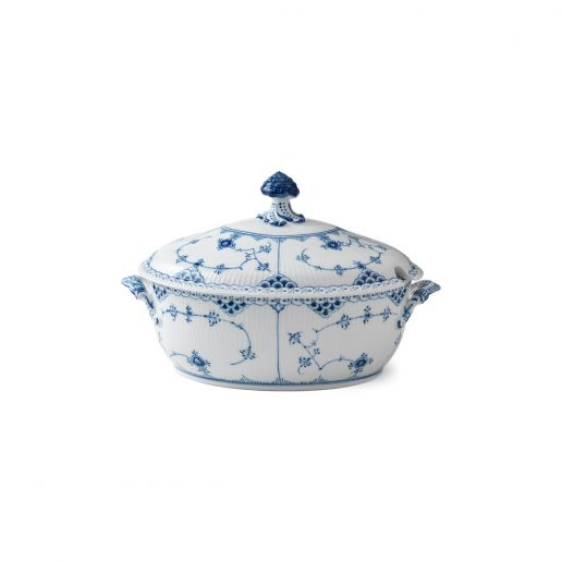 Royal Copenhagen Blue Fluted Half Lace Covered Tureen