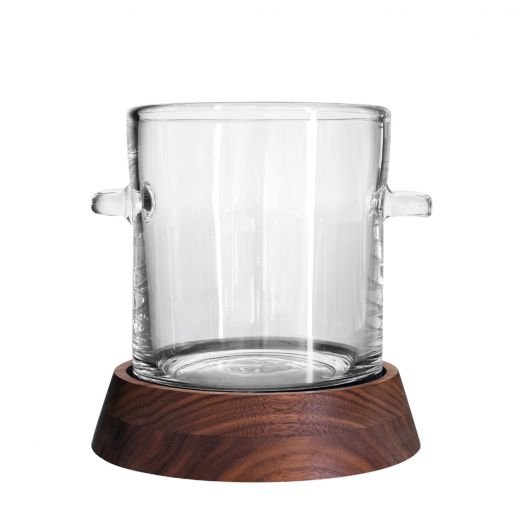 Simon Pearce Ludlow Ice Bucket with Wood Base