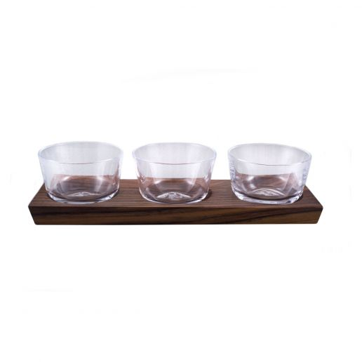 Simon Pearce Ludlow Set of 3 Nut Bowl with Wood Base