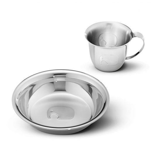 Georg Jensen Elephant Stainless Steel Baby Cup & Plate