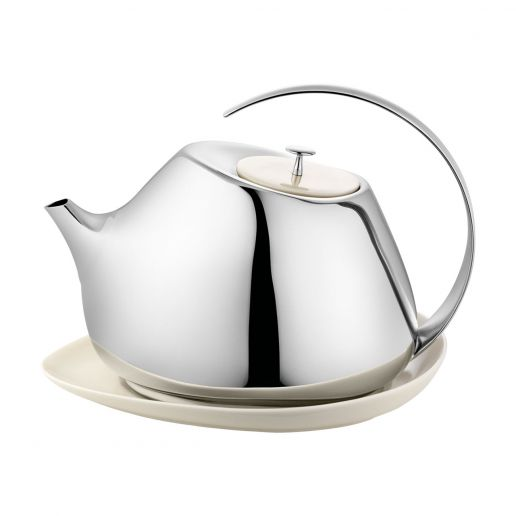 Georg Jensen Helena Stainless Steel Teapot with Porcelain Coaster