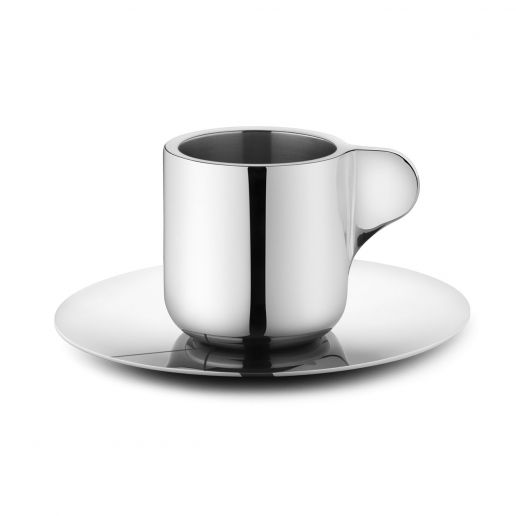 Georg Jensen Tea with Georg Stainless Steel Espresso Cup & Saucer, Set of 2