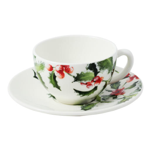 Gien Holly Breakfast Cups & Saucers