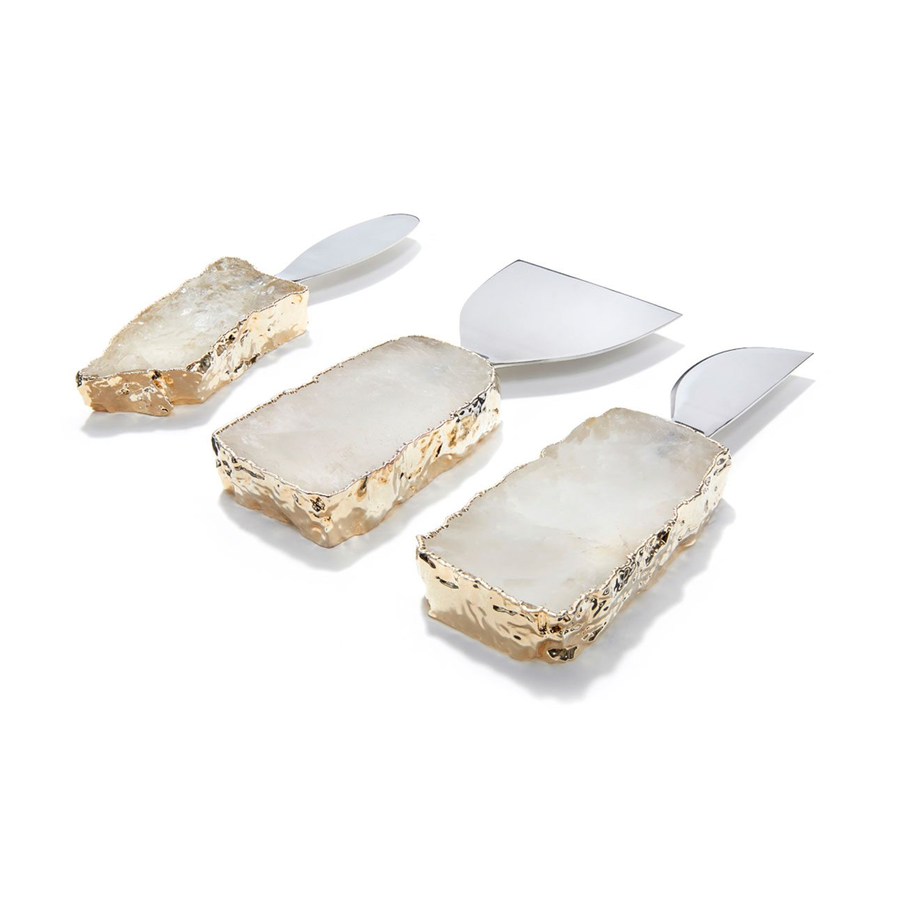 Anna by Rablabs Kiva Cheese Set Crystal Gold Set of 3