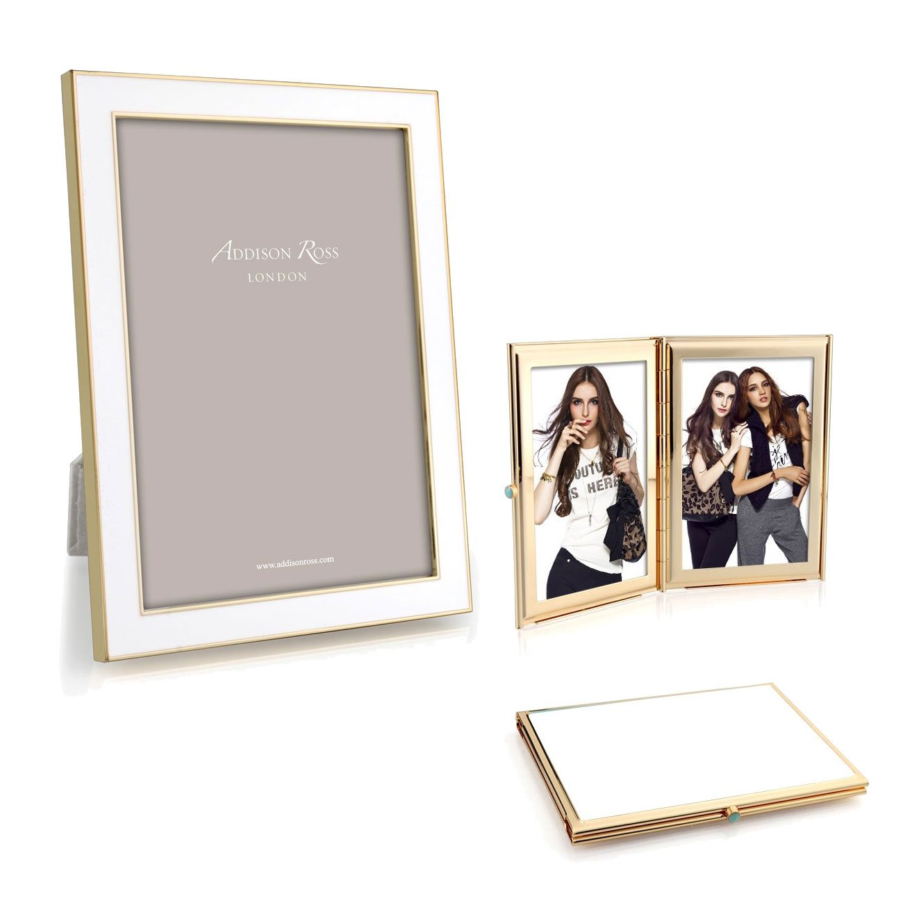 Addison Ross White Enamel Gold Frame Collection