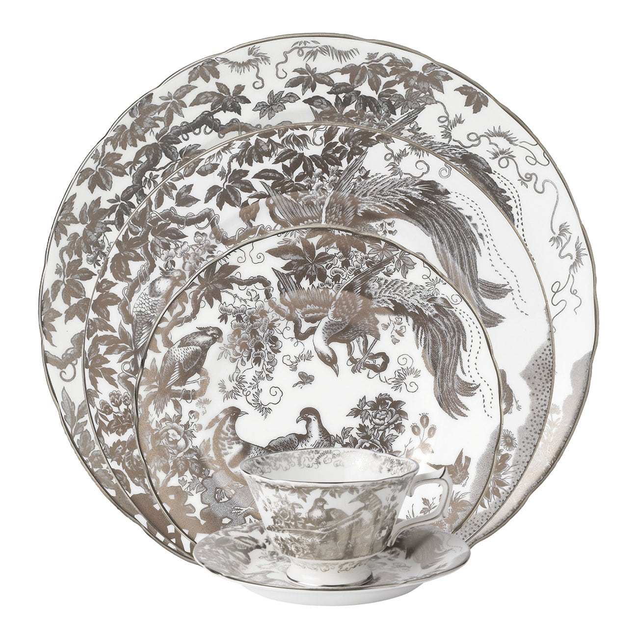 Royal Crown Derby Platinum Aves Dinnerware Collection