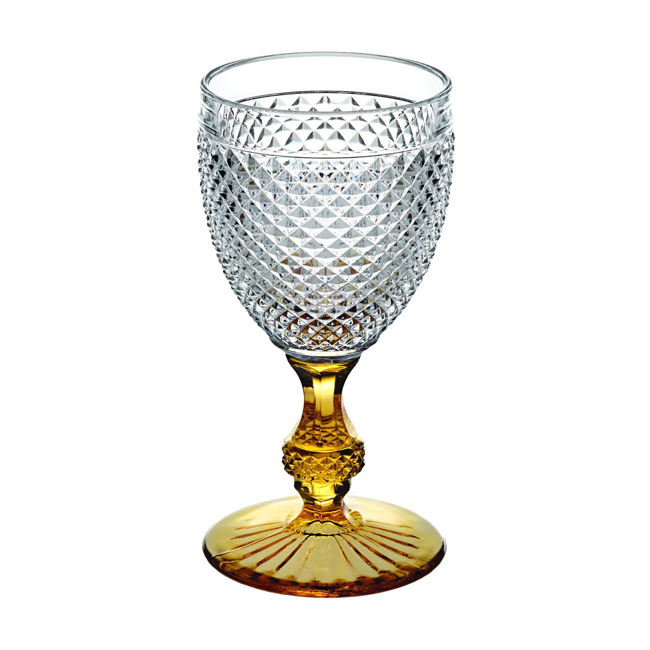 Vista Alegre Bicos Bicolor Goblet with Amber Stem